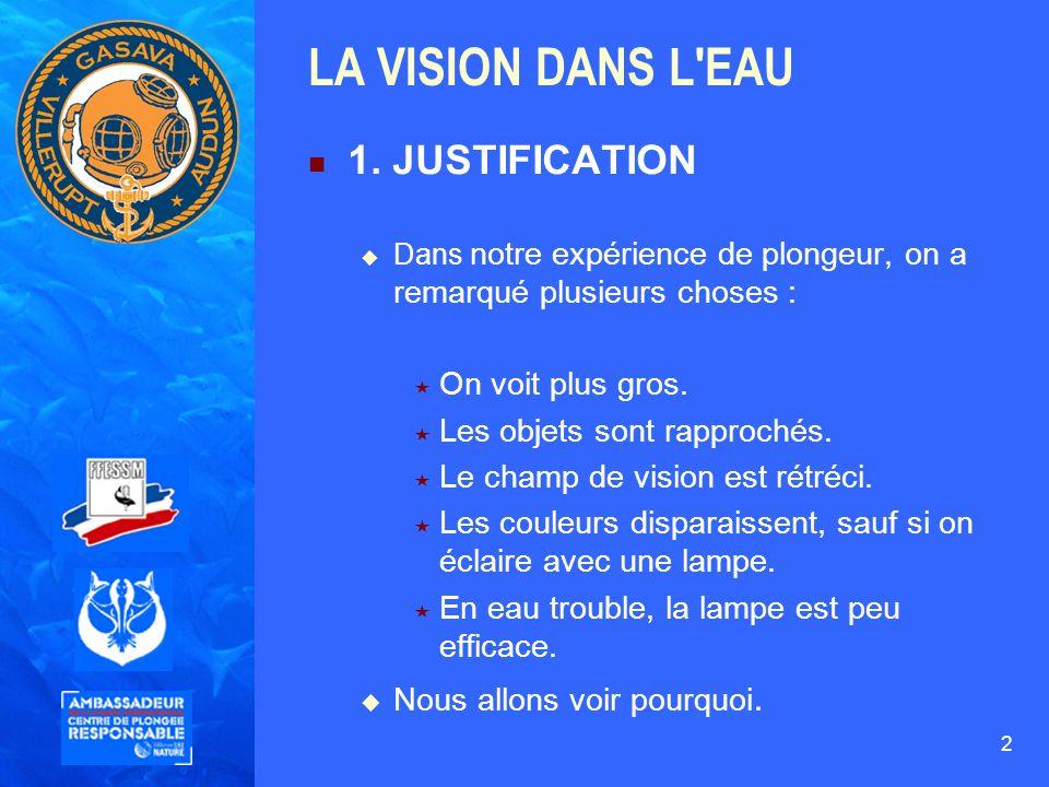 2 LA VISION DANS L'EAU 1. JUSTIFICATION Dans notre expérience de plongeur, on a remarqué plusieurs choses : On voit plus gros. Les objets sont rapproc