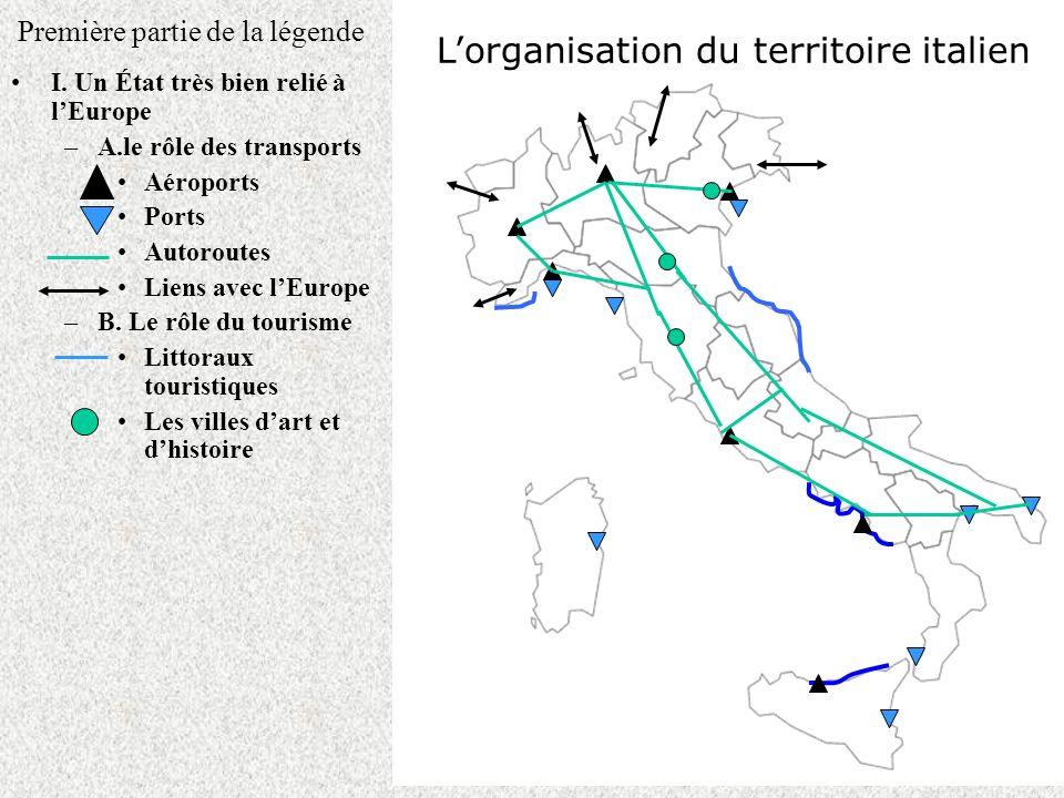 Première partie de la légende I. Un État très bien relié à lEurope –A.le rôle des transports Aéroports Ports Autoroutes Liens avec lEurope –B. Le rôle