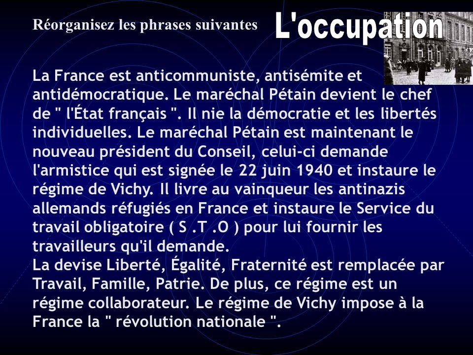 Le maréchal Pétain est maintenant le nouveau président du Conseil, celui-ci demande l'armistice qui est signée le 22 juin 1940 et instaure le régime d