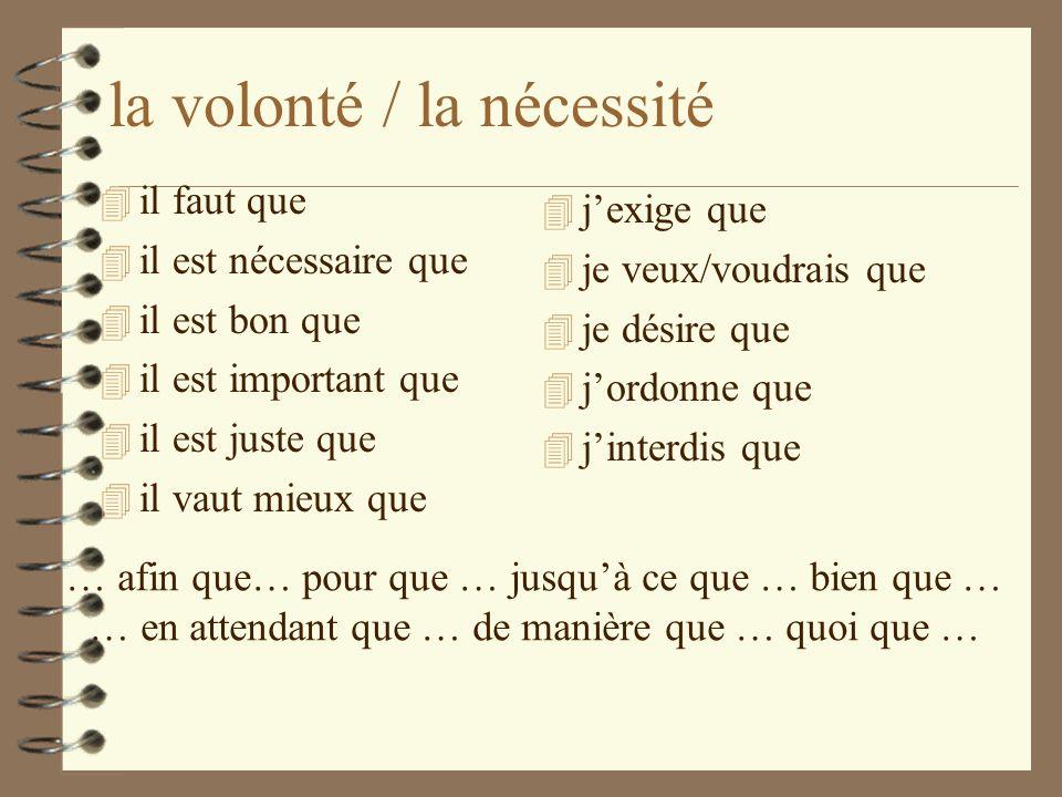 Lemploi du subjonctif en français On utilise les verbes au mode subjonctif pour exprimer 4 la volonté 4 la nécessité 4 lémotion 4 le doute 4 lincertit