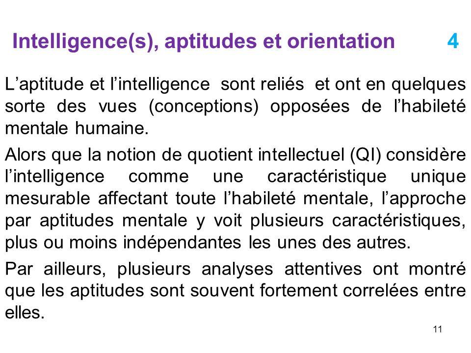 Intelligence(s), aptitudes et orientation 4 Laptitude et lintelligence sont reliés et ont en quelques sorte des vues (conceptions) opposées de lhabile