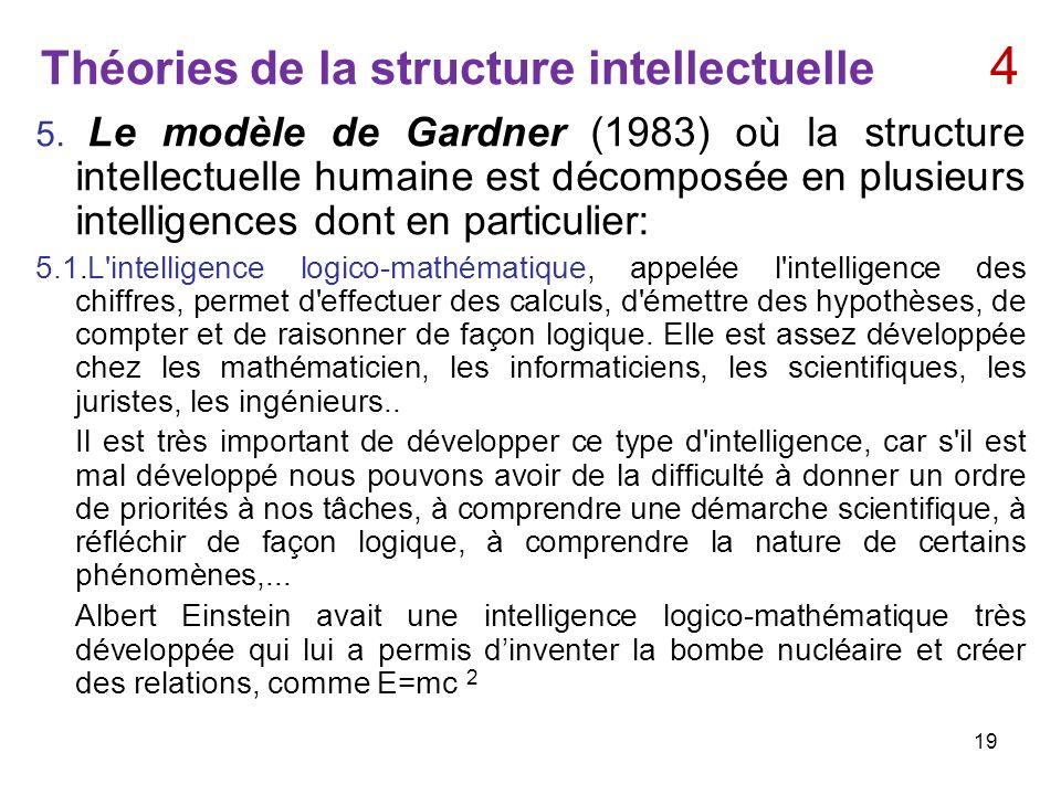Théories de la structure intellectuelle 4 5. Le modèle de Gardner (1983) où la structure intellectuelle humaine est décomposée en plusieurs intelligen