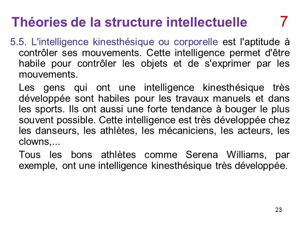 Théories de la structure intellectuelle 7 5.5. L'intelligence kinesthésique ou corporelle est l'aptitude à contrôler ses mouvements. Cette intelligenc