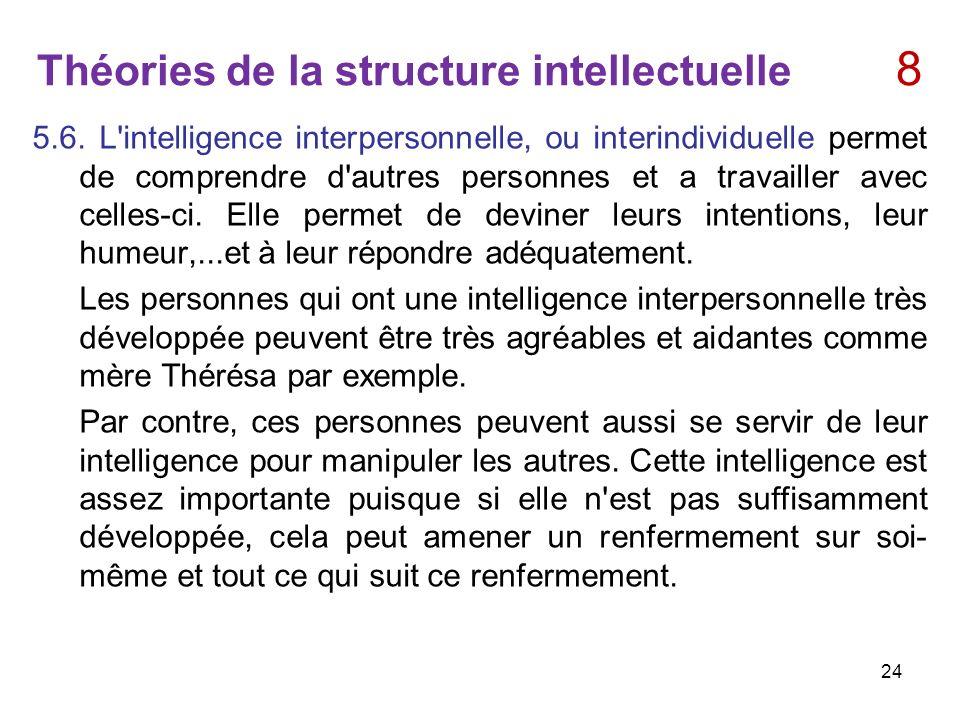 Théories de la structure intellectuelle 8 5.6. L'intelligence interpersonnelle, ou interindividuelle permet de comprendre d'autres personnes et a trav