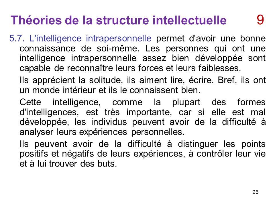 Théories de la structure intellectuelle 9 5.7. L'intelligence intrapersonnelle permet d'avoir une bonne connaissance de soi-même. Les personnes qui on