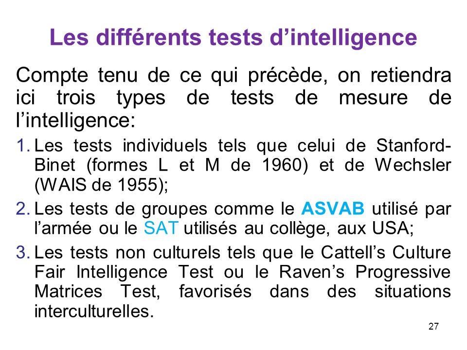 Les différents tests dintelligence Compte tenu de ce qui précède, on retiendra ici trois types de tests de mesure de lintelligence: 1.Les tests indivi