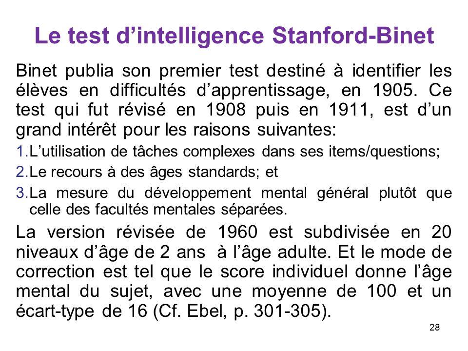 Le test dintelligence Stanford-Binet Binet publia son premier test destiné à identifier les élèves en difficultés dapprentissage, en 1905. Ce test qui