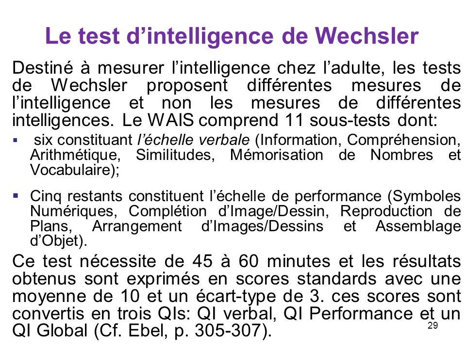 Le test dintelligence de Wechsler Destiné à mesurer lintelligence chez ladulte, les tests de Wechsler proposent différentes mesures de lintelligence e