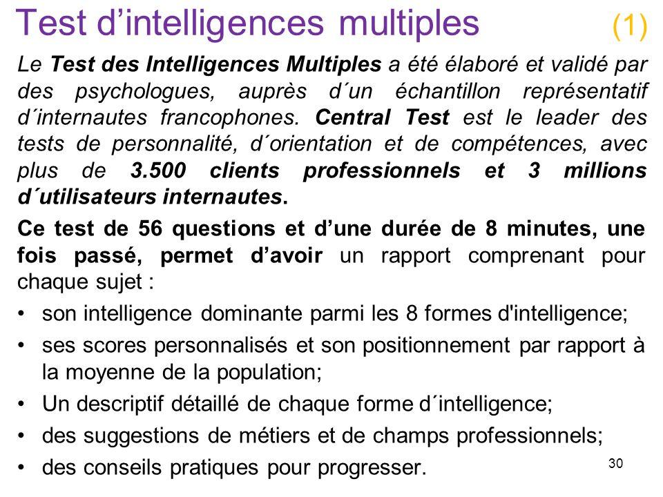 Test dintelligences multiples (1) Le Test des Intelligences Multiples a été élaboré et validé par des psychologues, auprès d´un échantillon représenta
