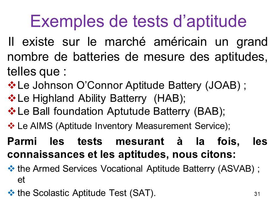 Exemples de tests daptitude Il existe sur le marché américain un grand nombre de batteries de mesure des aptitudes, telles que : Le Johnson OConnor Ap