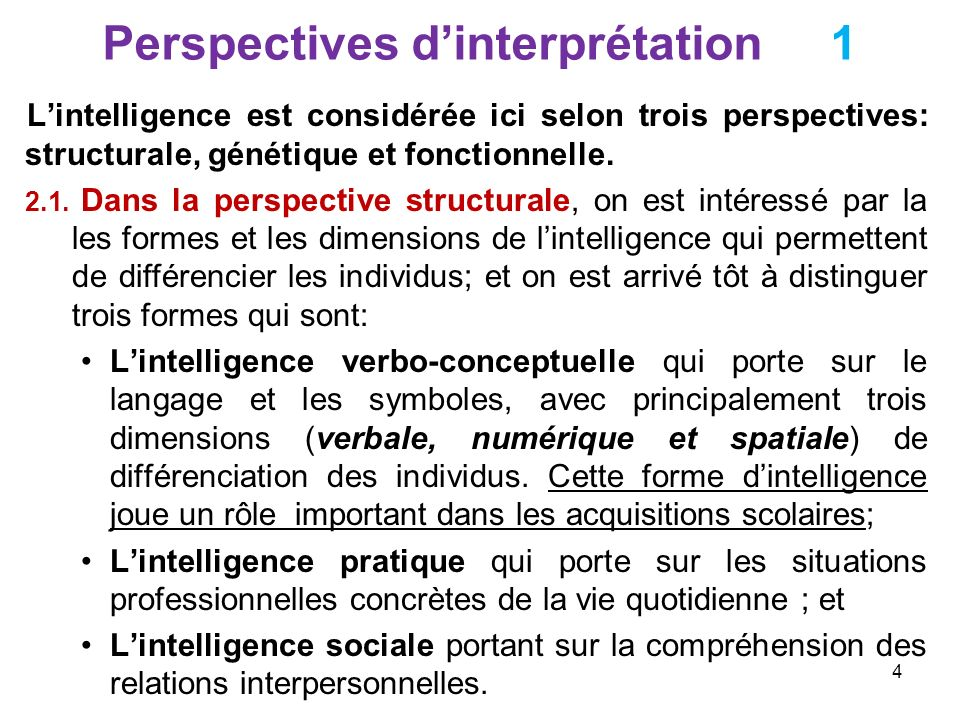 Perspectives dinterprétation 1 Lintelligence est considérée ici selon trois perspectives: structurale, génétique et fonctionnelle. 2.1. Dans la perspe