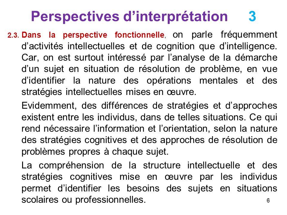 Perspectives dinterprétation 4 Les travaux psychologiques sur lintelligence ont de nombreuses applications dans les domaines de léducation et la formation, particulièrement en orientation.