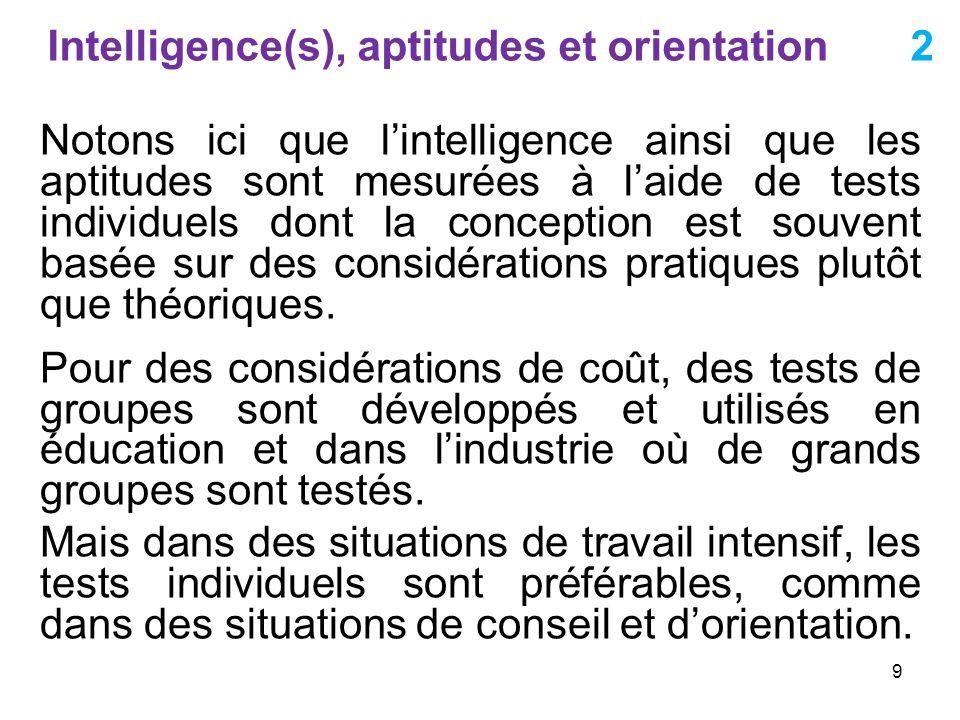 Intelligence(s), aptitudes et orientation 2 Notons ici que lintelligence ainsi que les aptitudes sont mesurées à laide de tests individuels dont la co