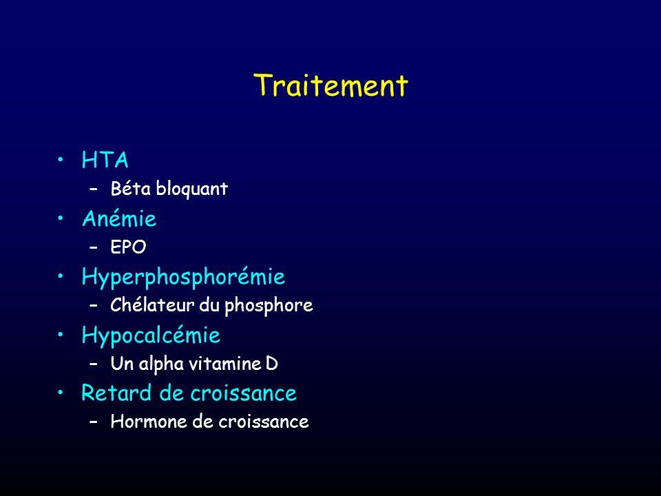 Traitement HTA –Béta bloquant Anémie –EPO Hyperphosphorémie –Chélateur du phosphore Hypocalcémie –Un alpha vitamine D Retard de croissance –Hormone de