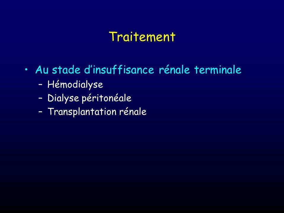 Traitement Au stade dinsuffisance rénale terminale –Hémodialyse –Dialyse péritonéale –Transplantation rénale
