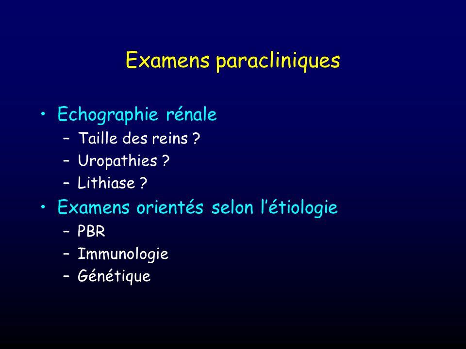 Examens paracliniques Echographie rénale –Taille des reins ? –Uropathies ? –Lithiase ? Examens orientés selon létiologie –PBR –Immunologie –Génétique