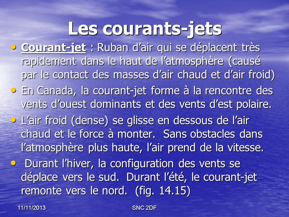 Les courants-jets Courant-jet : Ruban dair qui se déplacent très rapidement dans le haut de latmosphère (causé par le contact des masses dair chaud et