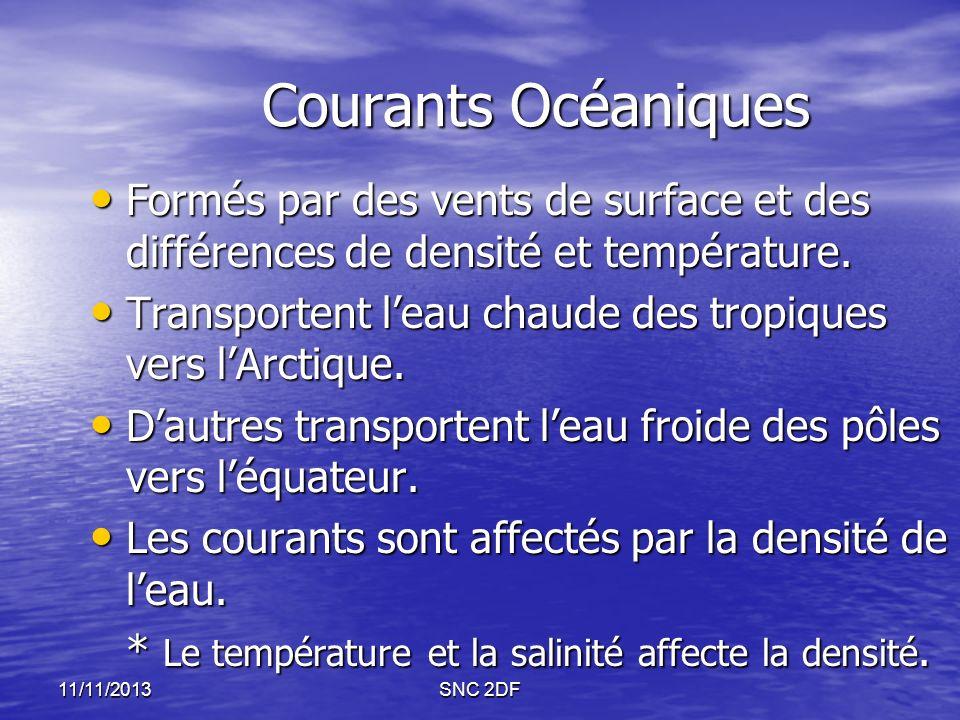 Courants Océaniques Formés par des vents de surface et des différences de densité et température. Formés par des vents de surface et des différences d