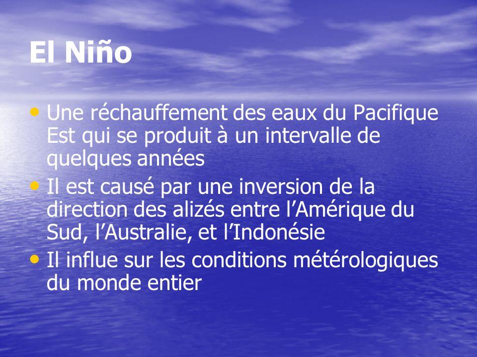 El Niño Une réchauffement des eaux du Pacifique Est qui se produit à un intervalle de quelques années Il est causé par une inversion de la direction d