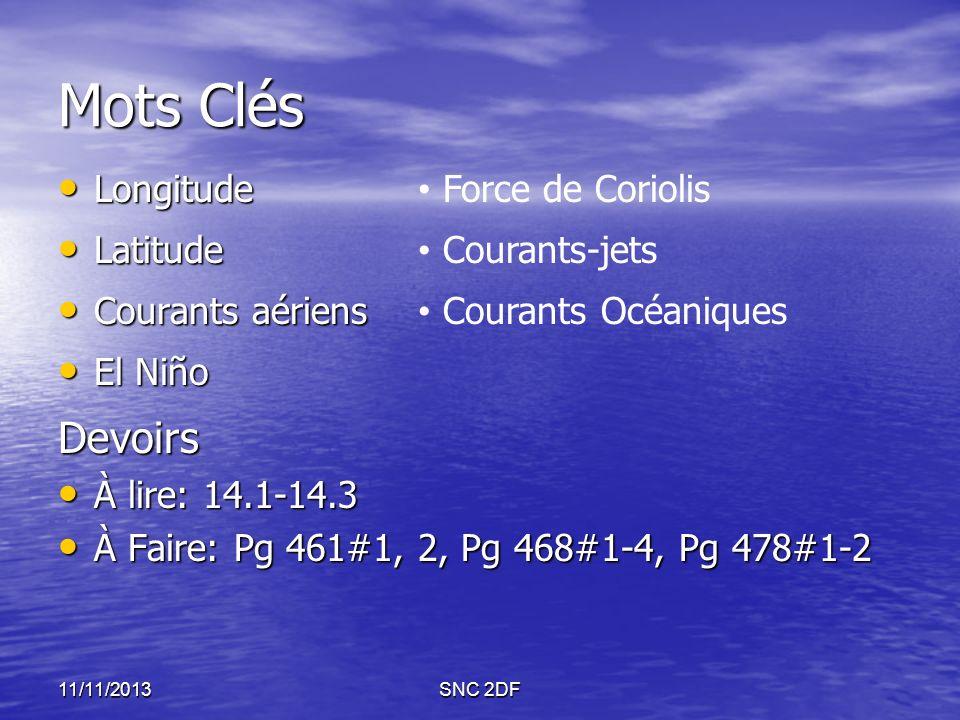 Mots Clés Longitude Longitude Latitude Latitude Courants aériens Courants aériens El Niño El NiñoDevoirs À lire: 14.1-14.3 À lire: 14.1-14.3 À Faire:
