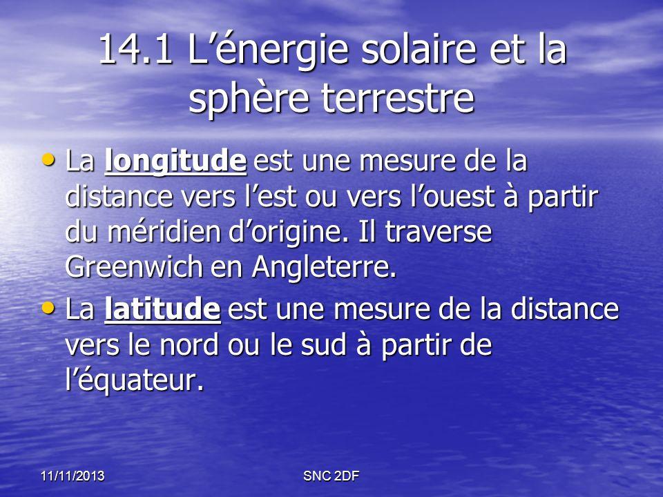 11/11/2013SNC 2DF 14.1 Lénergie solaire et la sphère terrestre La longitude est une mesure de la distance vers lest ou vers louest à partir du méridie