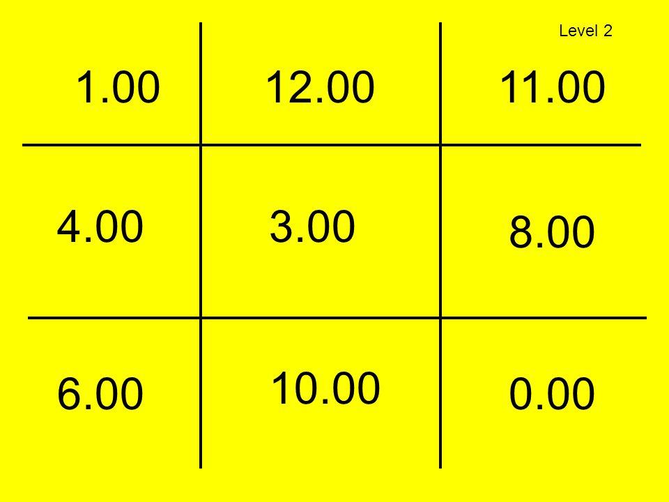 4.00 12.0011.001.00 3.00 8.00 6.00 10.00 0.00 Level 2