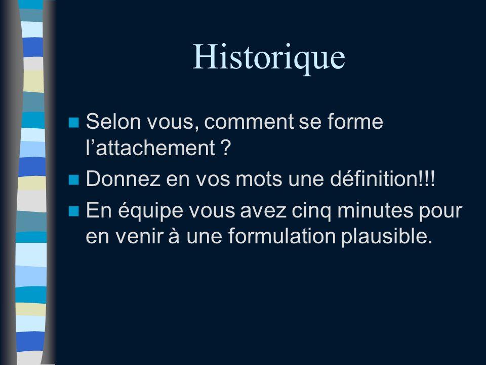 Historique Selon vous, comment se forme lattachement .