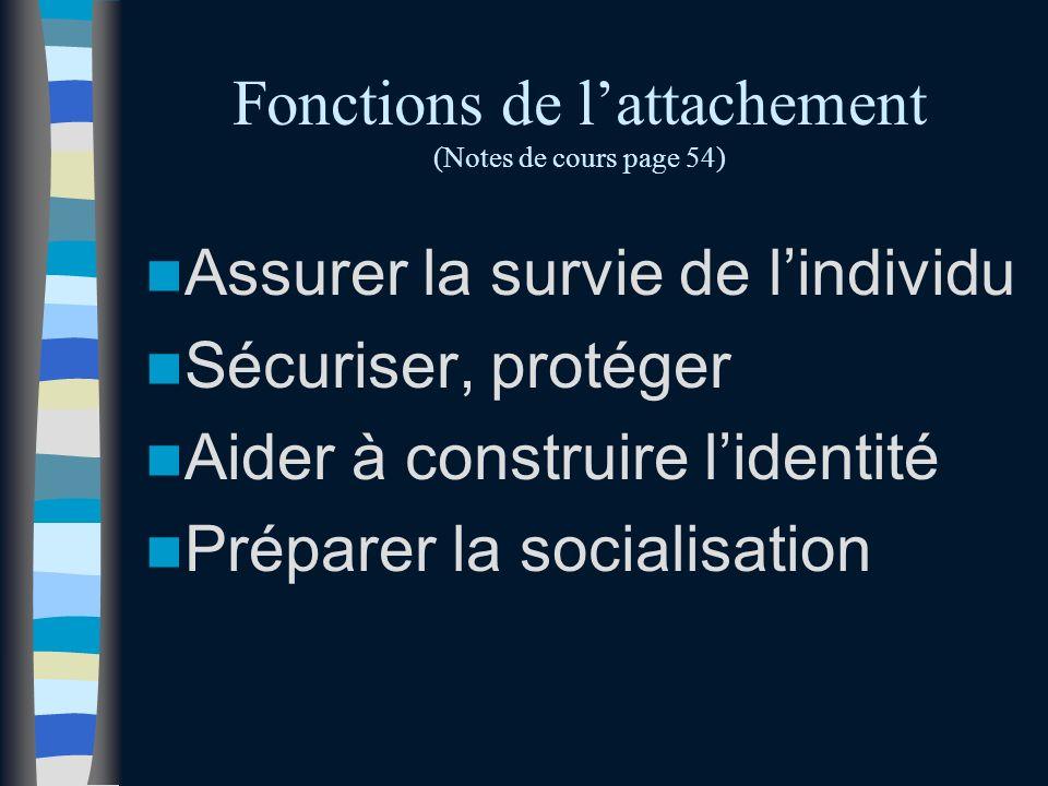 Fonctions de lattachement (Notes de cours page 54) Assurer la survie de lindividu Sécuriser, protéger Aider à construire lidentité Préparer la socialisation