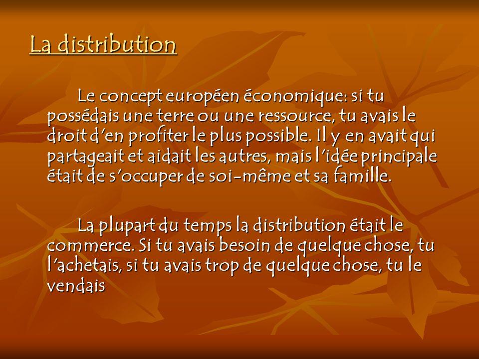 La distribution Le concept européen économique: si tu possédais une terre ou une ressource, tu avais le droit d'en profiter le plus possible. Il y en