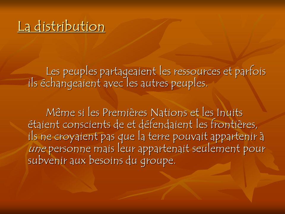 La distribution Les peuples partageaient les ressources et parfois ils échangeaient avec les autres peuples. Même si les Premières Nations et les Inui
