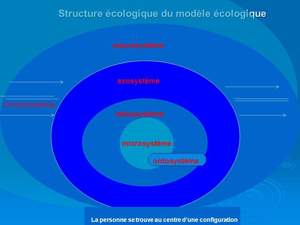 Le modèle écologique en tant quapproche systémique de la réalité Propose différents niveaux danalyse de multiples systèmes qui composent une niche éco