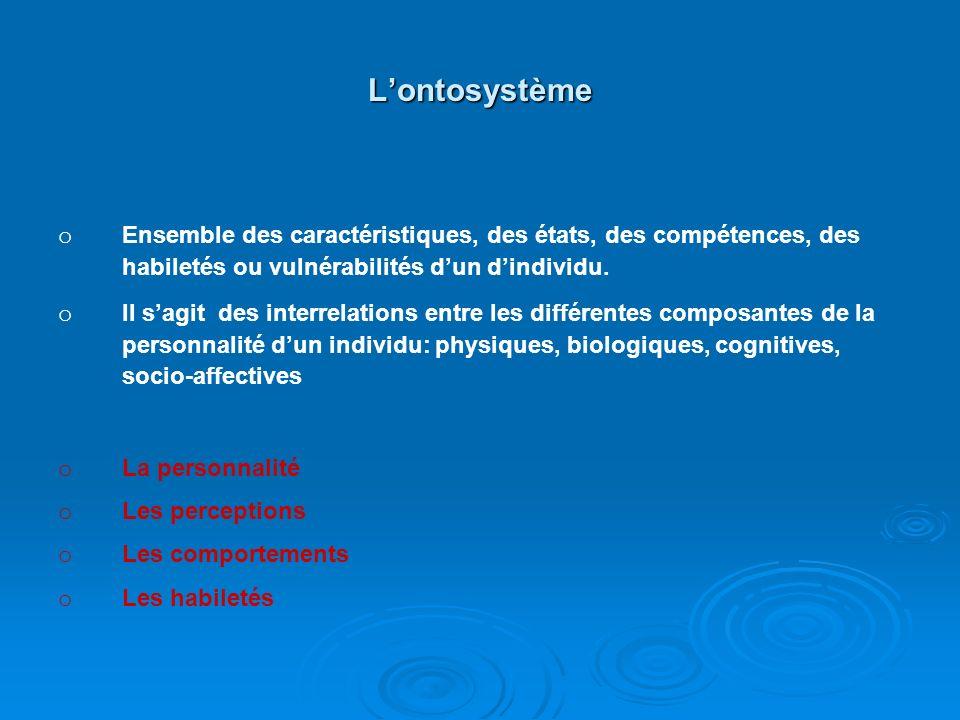 Le crhonosystème o o Il comprend le système du temps et la succession des événements vécus par la personne dans le temps. o o La naissance d'un enfant