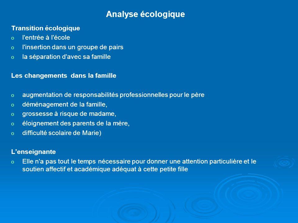 Exemple d'une analyse écologique Nous présentons une analyse écologique de la situation d'une jeune enfant de 6 ans en échec d'apprentissage de la lec