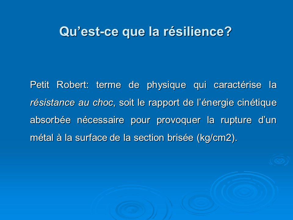 La résilience Facteurs de protection Facteurs de risque