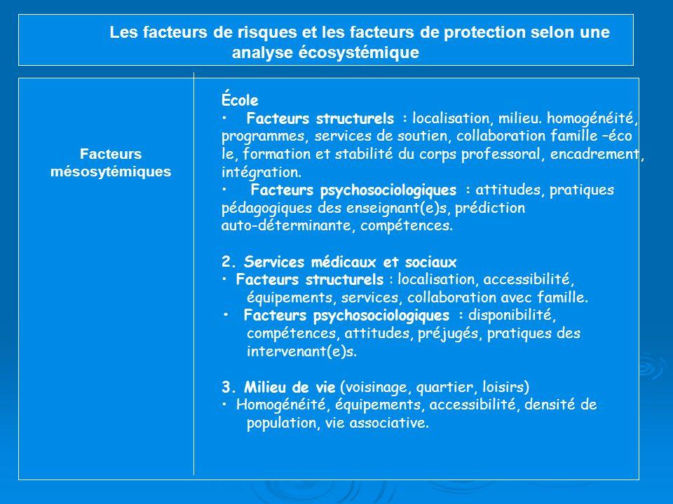 Les facteurs de risques et les facteurs de protection selon une analyse écosystémique (Larose, Tableau 1 ) Facteurs Ontosystémiques 1.Facteurs pré, pé