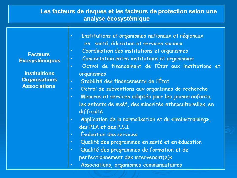 Les facteurs de risques et les facteurs de protection selon une analyse écosystémique Facteurs mésosytémiques École Facteurs structurels : localisatio