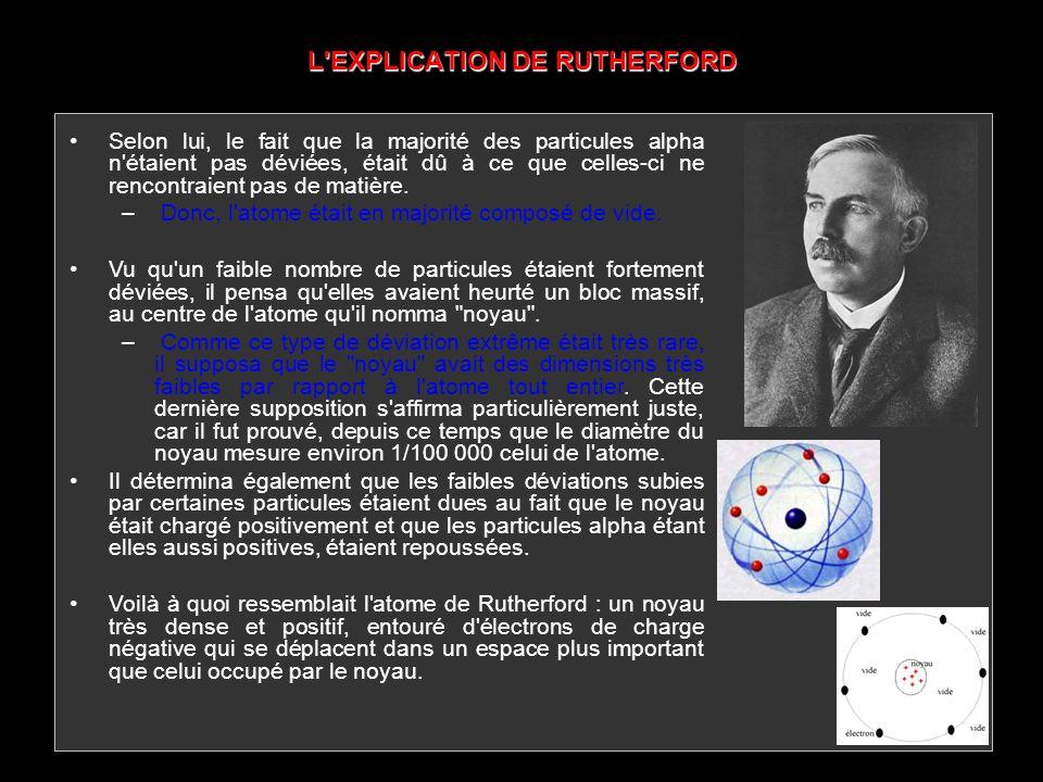 L'EXPLICATION DE RUTHERFORD Selon lui, le fait que la majorité des particules alpha n'étaient pas déviées, était dû à ce que celles-ci ne rencontraien