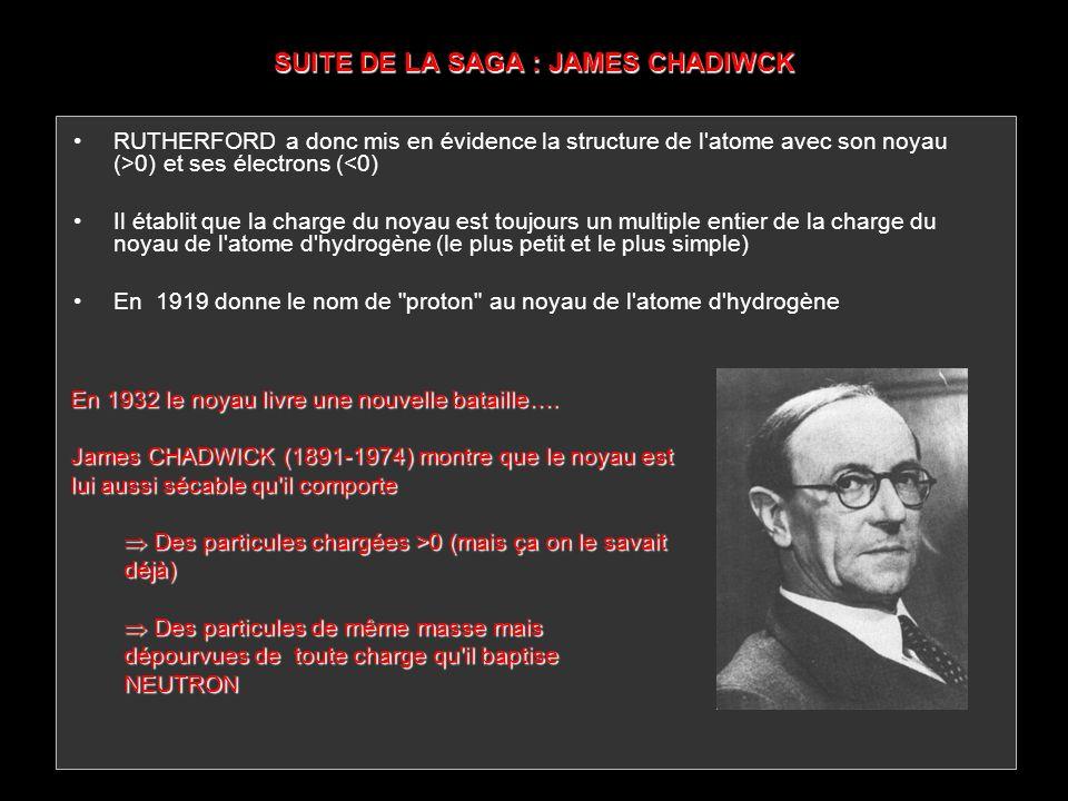 SUITE DE LA SAGA : JAMES CHADIWCK RUTHERFORD a donc mis en évidence la structure de l'atome avec son noyau (>0) et ses électrons (<0) Il établit que l