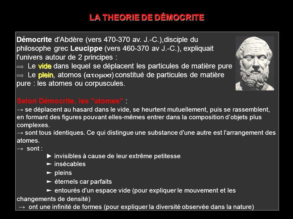 LA THEORIE DE DÉMOCRITE Démocrite d'Abdère (vers 470-370 av. J.-C.),disciple du philosophe grec Leucippe (vers 460-370 av J.-C.), expliquait l'univers