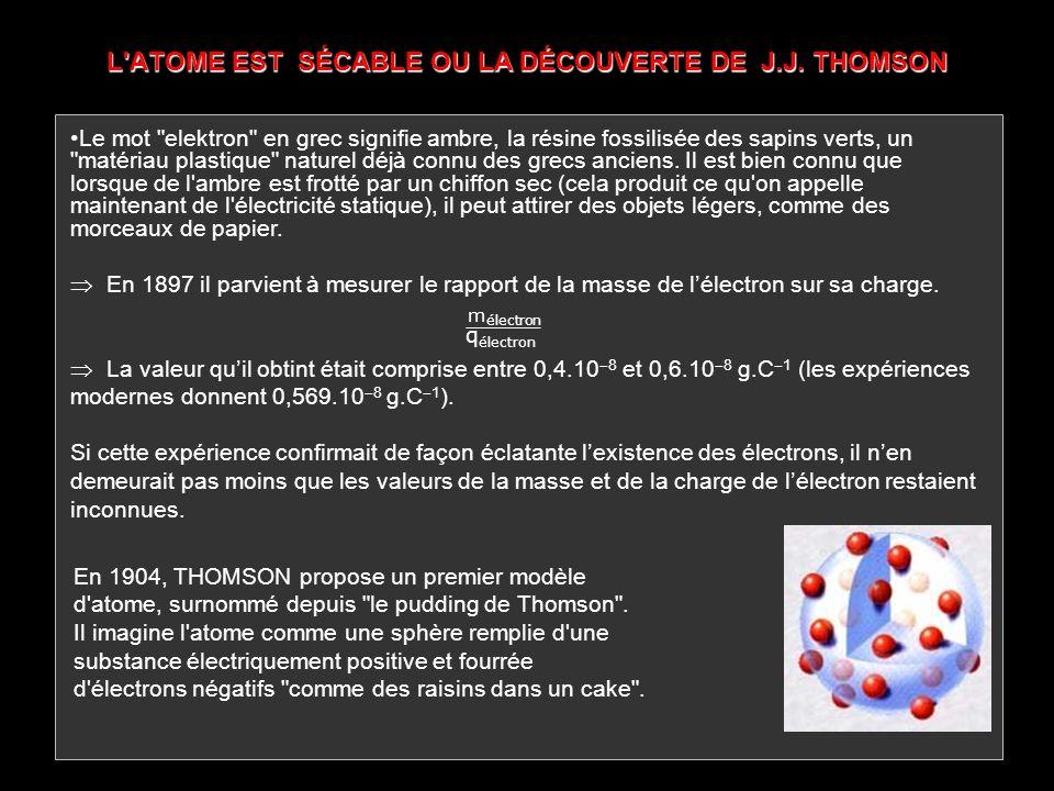 L'ATOME EST SÉCABLE OU LA DÉCOUVERTE DE J.J. THOMSON En 1904, THOMSON propose un premier modèle d'atome, surnommé depuis