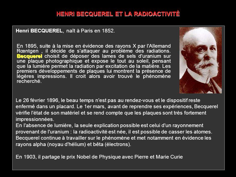 HENRI BECQUEREL ET LA RADIOACTIVITÉ Becquerel En 1895, suite à la mise en évidence des rayons X par l'Allemand Rœntgen, il décide de s'attaquer au pro