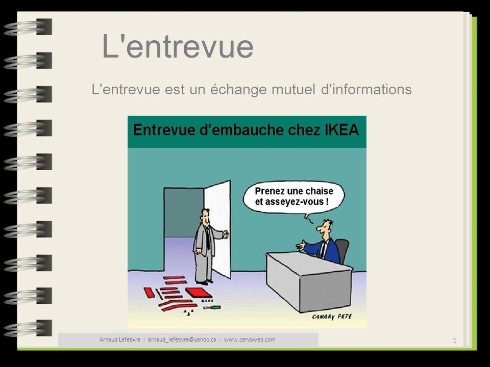 2 Arnaud Lefebvre l arnaud_lefebvre@yahoo.ca l www.cervoweb.com L entrevue L employeur veut connaître : - Le candidat - Ses motivations et intérêts - Ses aptitudes et qualités - Ses connaissances - Les risques