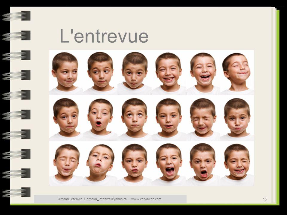 13 Arnaud Lefebvre l arnaud_lefebvre@yahoo.ca l www.cervoweb.com L'entrevue