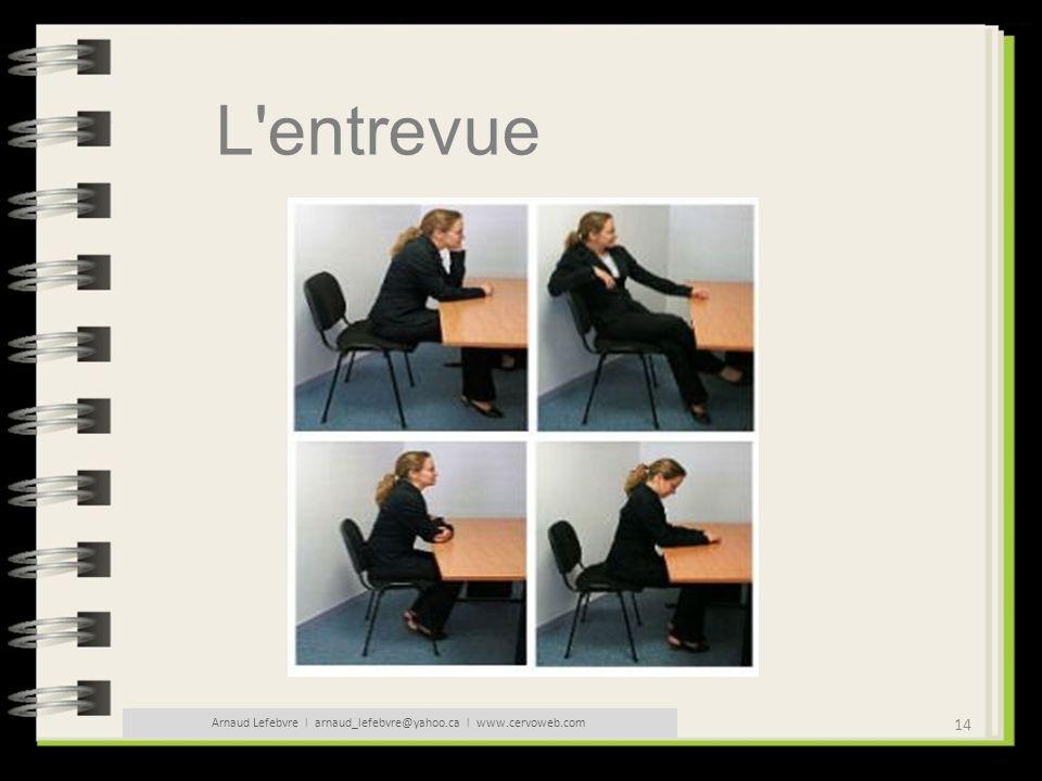 14 Arnaud Lefebvre l arnaud_lefebvre@yahoo.ca l www.cervoweb.com L'entrevue