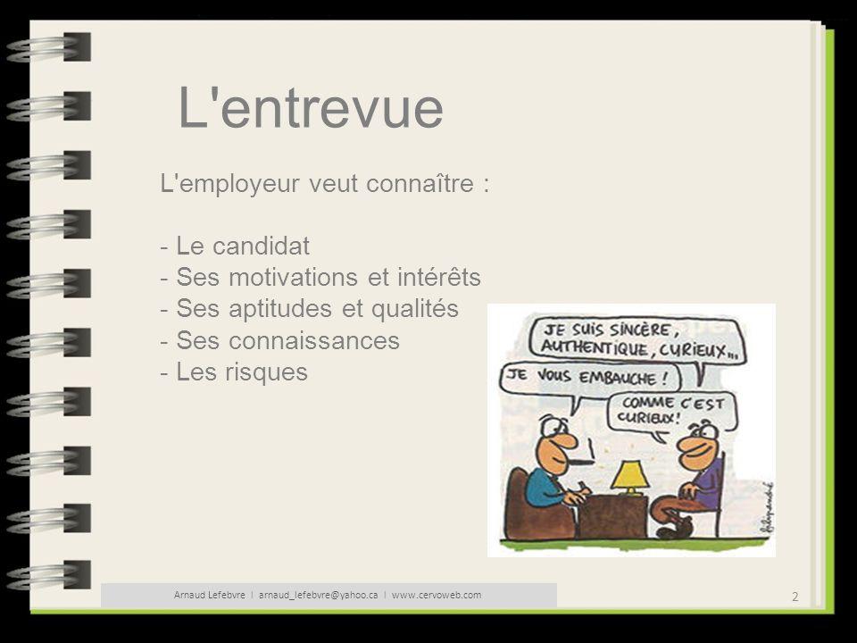 23 Arnaud Lefebvre l arnaud_lefebvre@yahoo.ca l www.cervoweb.com L entrevue Les questions pièges : Pouvez-vous me parler d une expérience professionnelle dont vous soyez particulièrement fière, qui vous a particulièrement motivé .