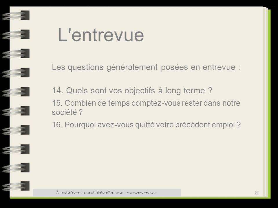20 Arnaud Lefebvre l arnaud_lefebvre@yahoo.ca l www.cervoweb.com L'entrevue Les questions généralement posées en entrevue : 14. Quels sont vos objecti