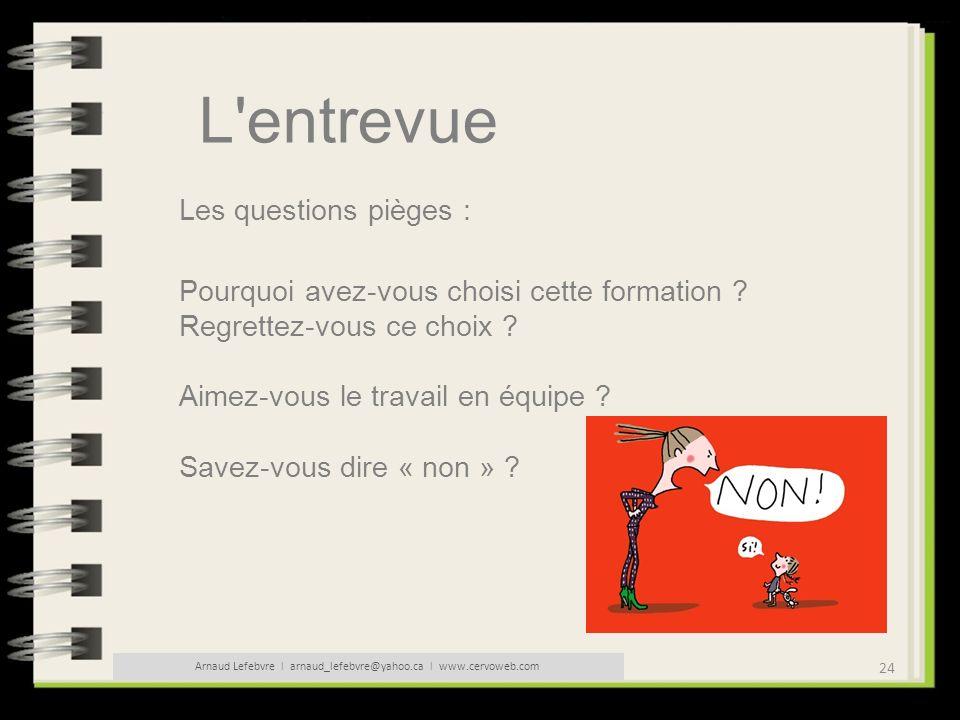 24 Arnaud Lefebvre l arnaud_lefebvre@yahoo.ca l www.cervoweb.com L'entrevue Les questions pièges : Pourquoi avez-vous choisi cette formation ? Regrett