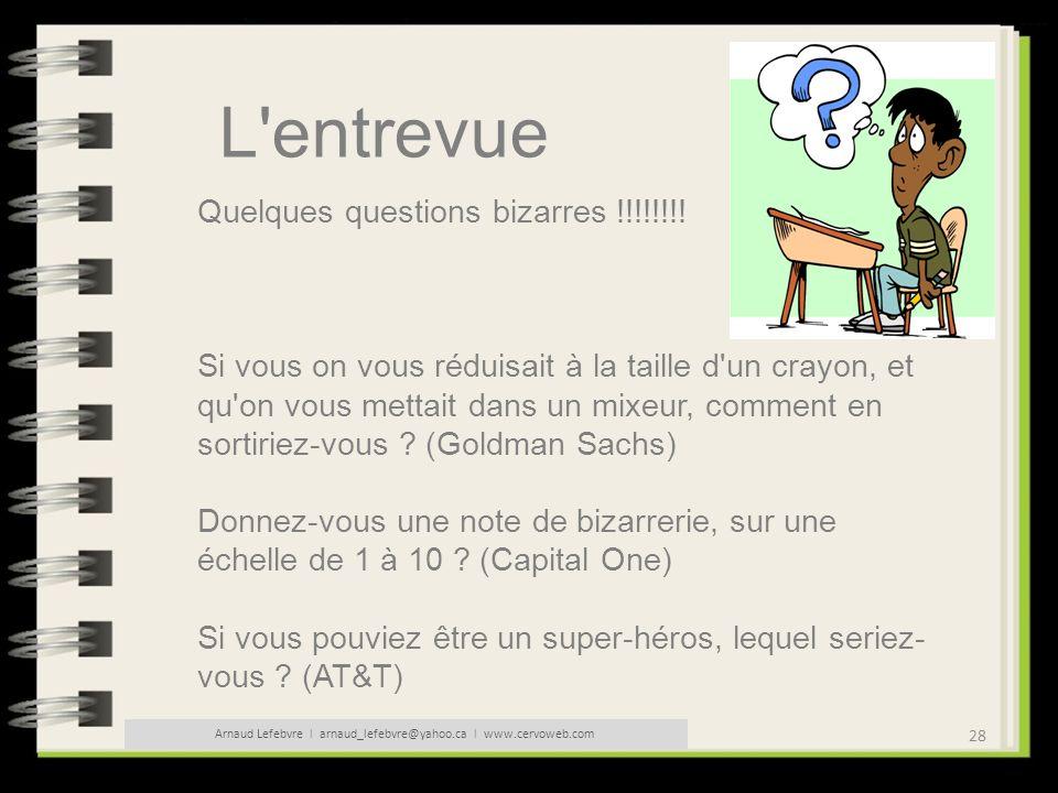 28 Arnaud Lefebvre l arnaud_lefebvre@yahoo.ca l www.cervoweb.com L'entrevue Quelques questions bizarres !!!!!!!! Si vous on vous réduisait à la taille