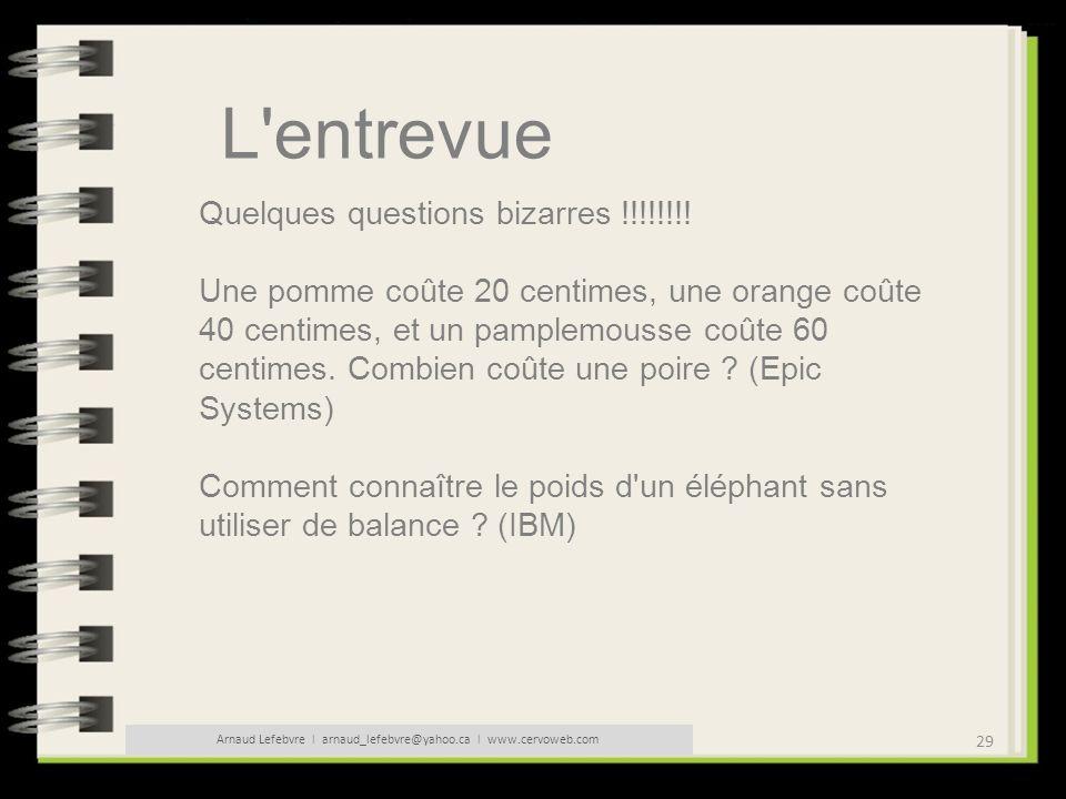 29 Arnaud Lefebvre l arnaud_lefebvre@yahoo.ca l www.cervoweb.com L'entrevue Quelques questions bizarres !!!!!!!! Une pomme coûte 20 centimes, une oran