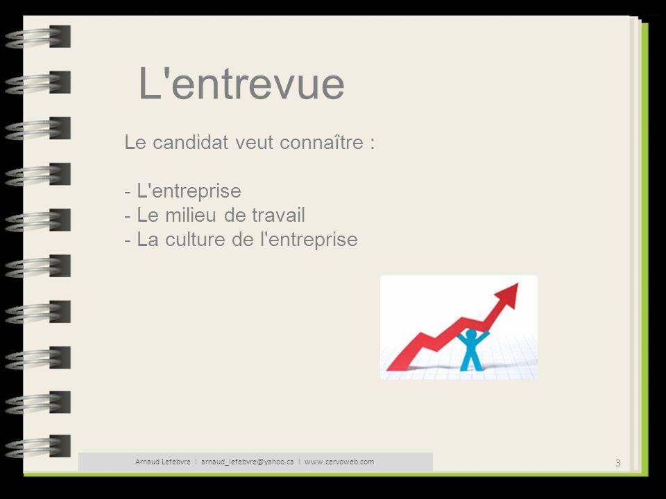 3 Arnaud Lefebvre l arnaud_lefebvre@yahoo.ca l www.cervoweb.com L'entrevue Le candidat veut connaître : - L'entreprise - Le milieu de travail - La cul
